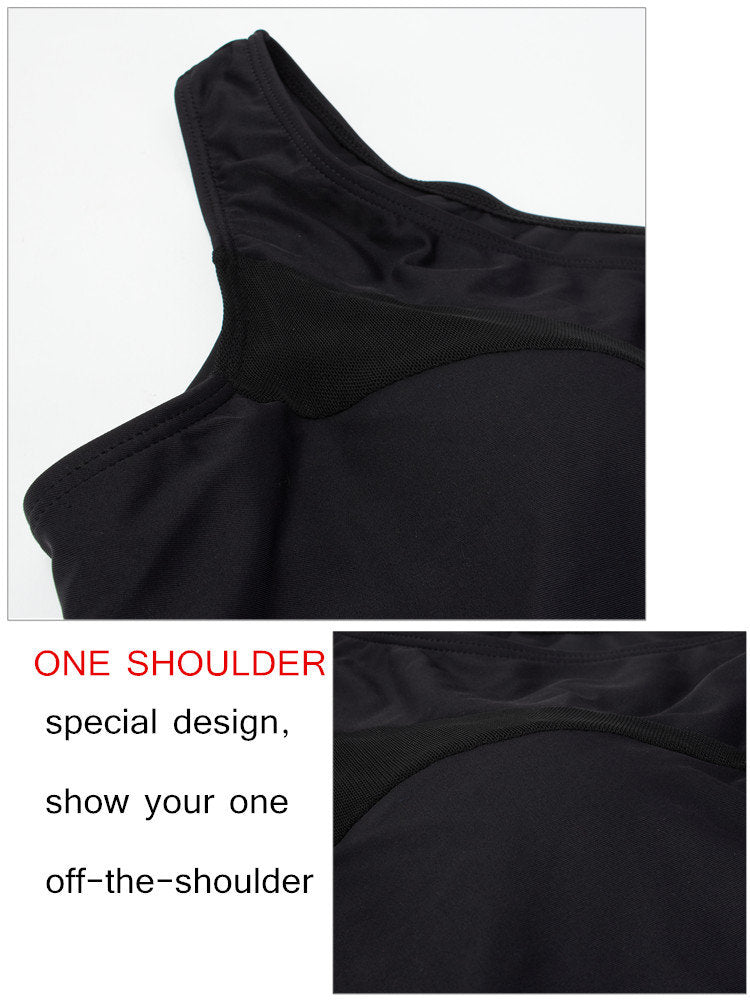 Plus Size Women Sexy One Piece Swimsuit Transparent Voile One Shoulder Swimwear