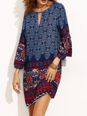 Women 3/4 Sleeve Printed Tribal Floral Dress