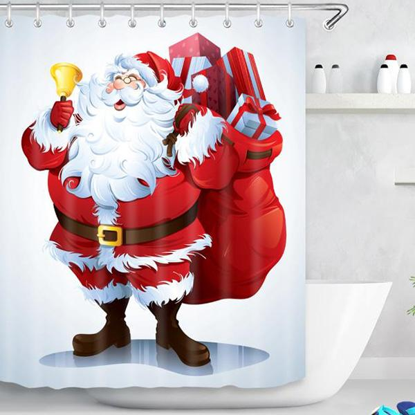 Santa Claus Christmas Series Pattern Bathroom Curtain Mildew Waterproof Shower Curtain