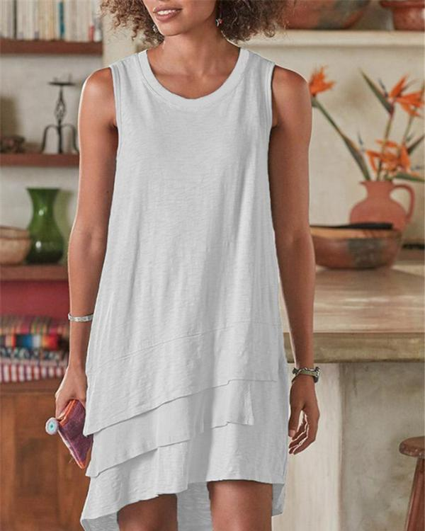 Solid Irregular Crew Neck Sleeveless Casual Shift Dresses