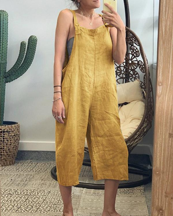 Bohemian Solid Color Loose Jumpsuit
