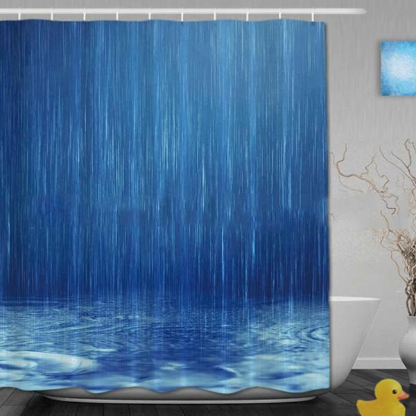 Rainning Digital Printing Pattern Bathroom Curtain Mildew Waterproof Shower Curtain