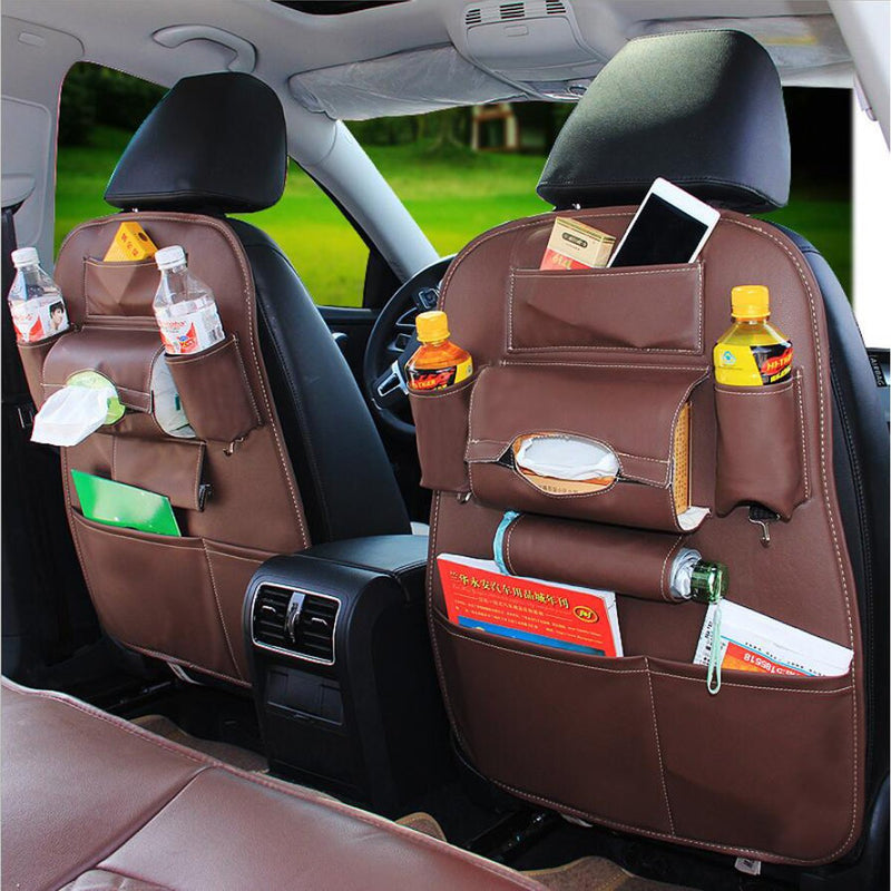 Leather Multi-Pocket Car Seat Back Bag Organizer Storage Phone Cup Tissue Holder