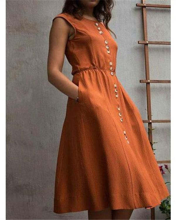 Women Temperament Loose Button Sleeveless Solid Color Dress