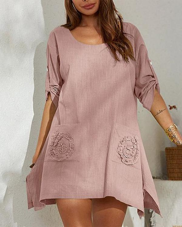 Round Neck Pocket Lace Long Sleeve Irregular Hem Mini Dress