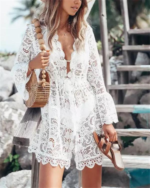 Sexy Lace V Neck Daily Fashion Mini Dresses