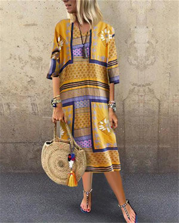 Boho V Neck 3/4 Sleeve Maxi Dress