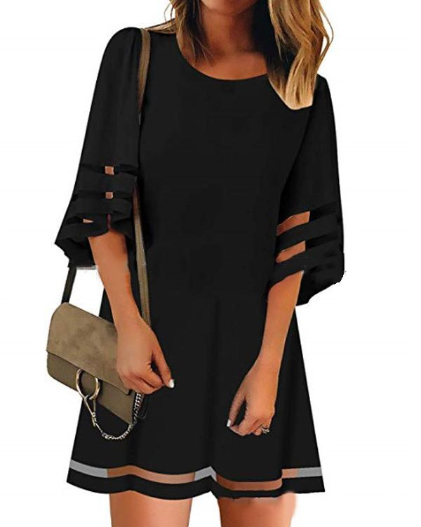 Fashion Solid Crew Neck Bell Sleeve Mesh Stitching Dresses