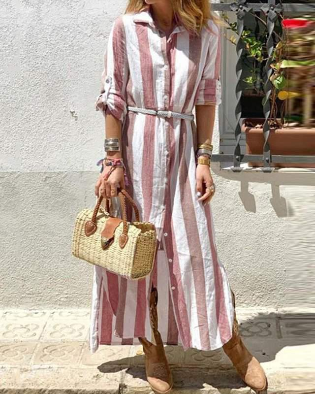 Striped Long Sleeve Stand Collar Button Design Loose Causal Maxi Dress
