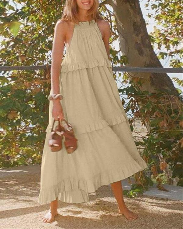Summer New Stitching Solid Color Sleeveless Casual Halter Dress