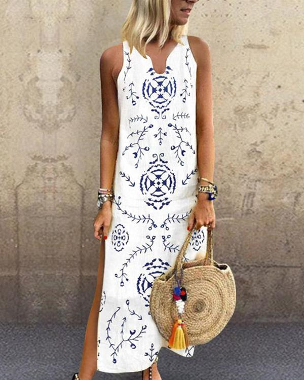 Sleeveless V Neck Printed Split Long Pencil Dress