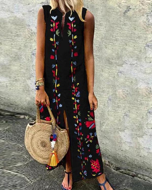 Printed Round Neck Sleeveless Plus Size Maxi Dresses
