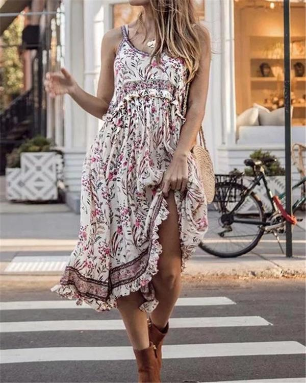 Bohemian Sleeveless U Neck Summer Beach Holiday Dresses