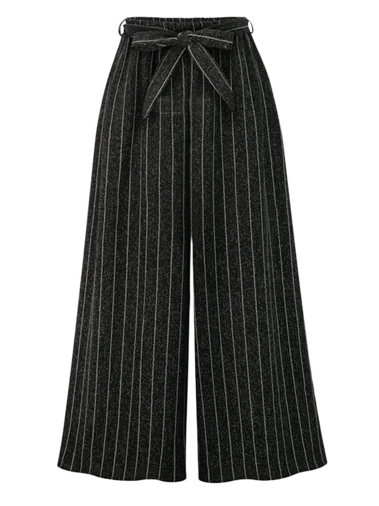 Casual Loose Striped Elastic Waist Women Wide Leg Pants