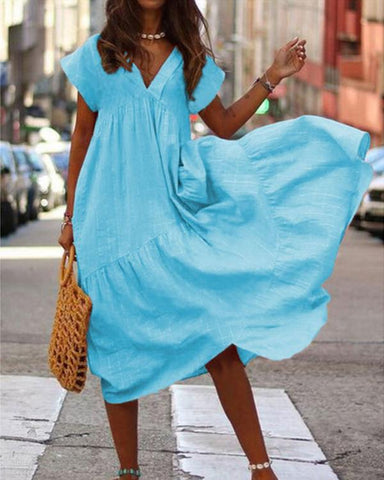Fashion Solid V Neck Short Sleeve Strap Dresses