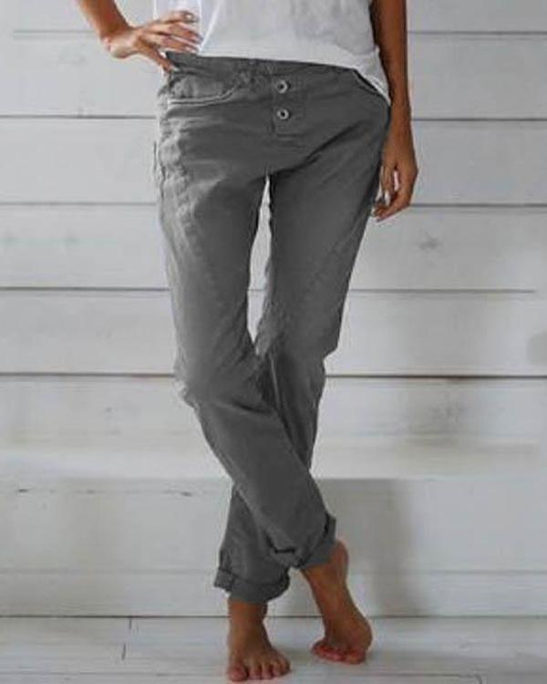 Solid Color Casual Button Plus Size Pants