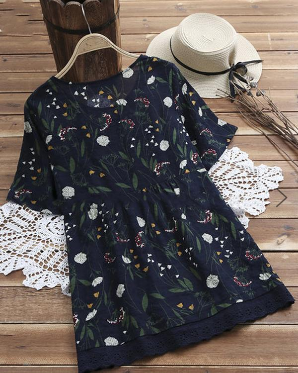 Women Summer Floral Short Sleeve Crew Neck Blouses Tops
