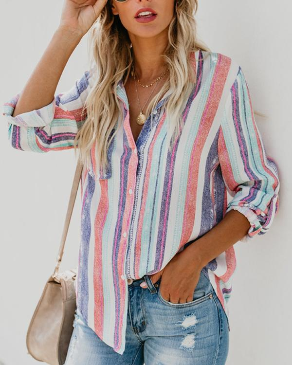 Casual Rainbow Striped Button Loose Blouse Tops