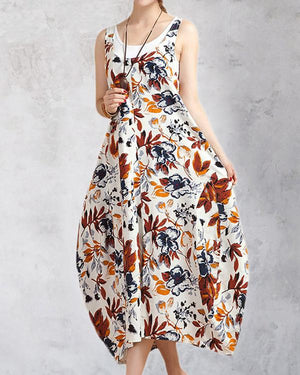 Crew Neck Daily Sleeveless Printed Holiday Chic Midi Dresses