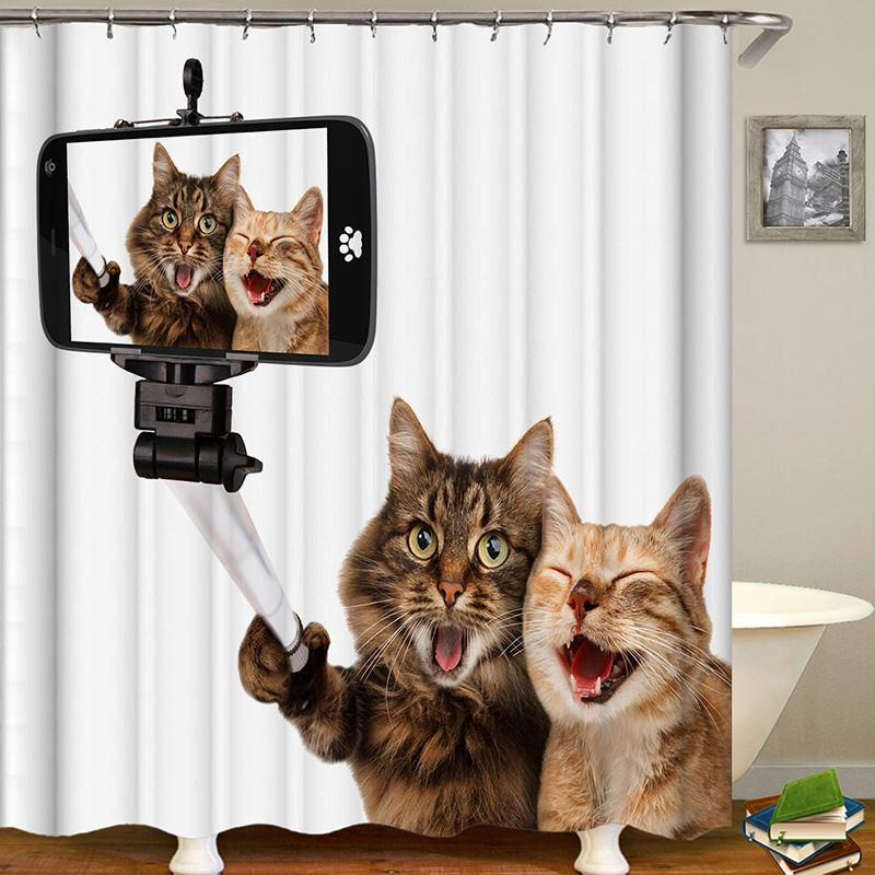 Cat Series Animal Digital Printing Pattern Bathroom Curtain Mildew Waterproof Shower Curtain