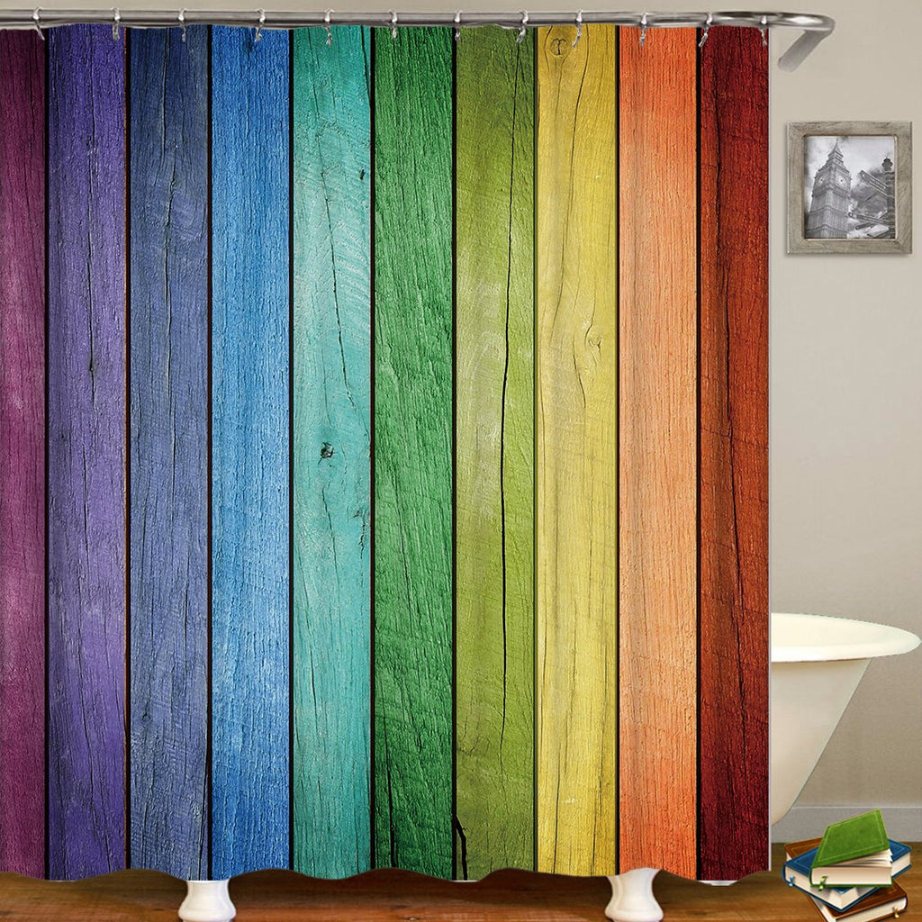 Colored Wooden Door Digital Printing Bathroom Curtain Mildew Waterproof Shower Curtain