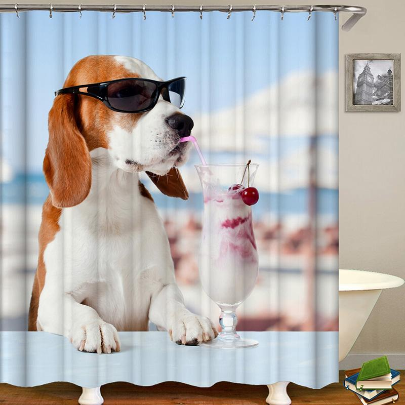 Dog Series Animal Digital Printing Pattern Bathroom Curtain Mildew Waterproof Shower Curtain