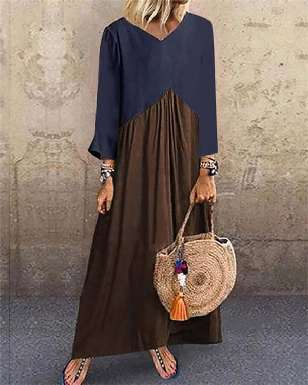 Color Patched Summer Holiday Daily  Women Fashion Maxi Dresses