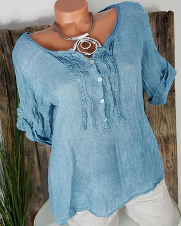 Casual Chiffon Short Sleeve Solid Plus Size Blouses Tops