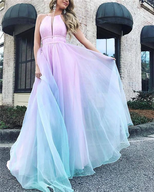 Women Sexy Sleeveless Gradient  V-Neck Evening Party Dress