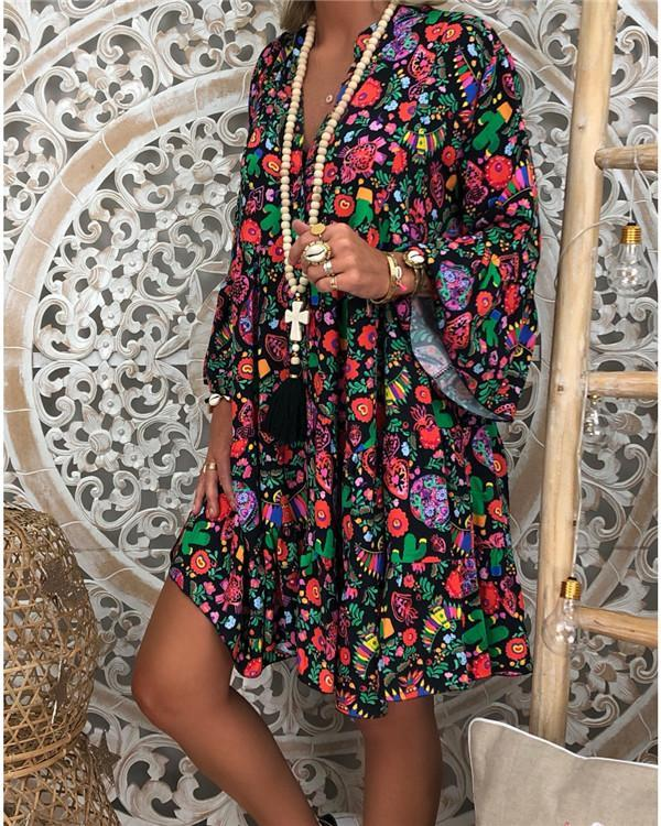 Vacation V Neck Summer Printed Holiday Chic Mini Dresses