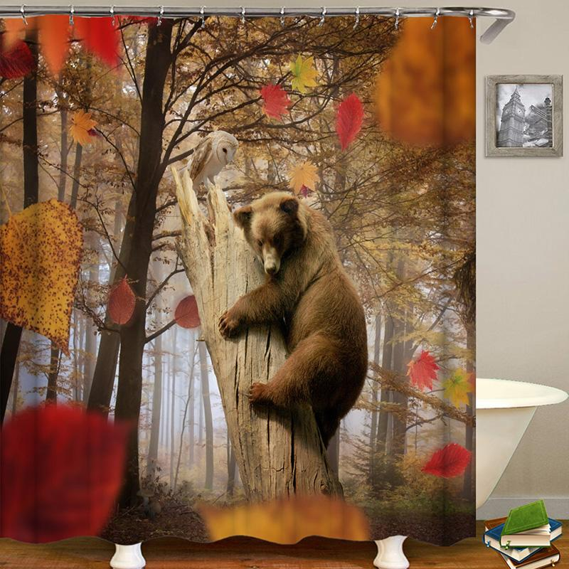 Bear Series Animal Digital Printing Pattern Bathroom Curtain Mildew Waterproof Shower Curtain