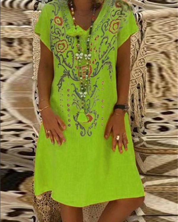 Vintage V Neck Summer Printed Holiday Chic Dresses