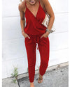 Women Casual Pure Color With Pockets Plus Size Jumpsuits