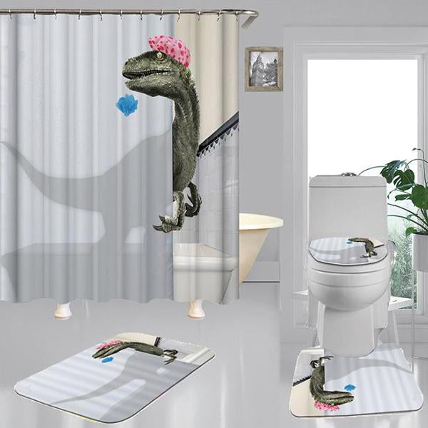 Home Shower Curtain Cartoon Dinosaur Pattern Thick Waterproof Bathroom Dercoration