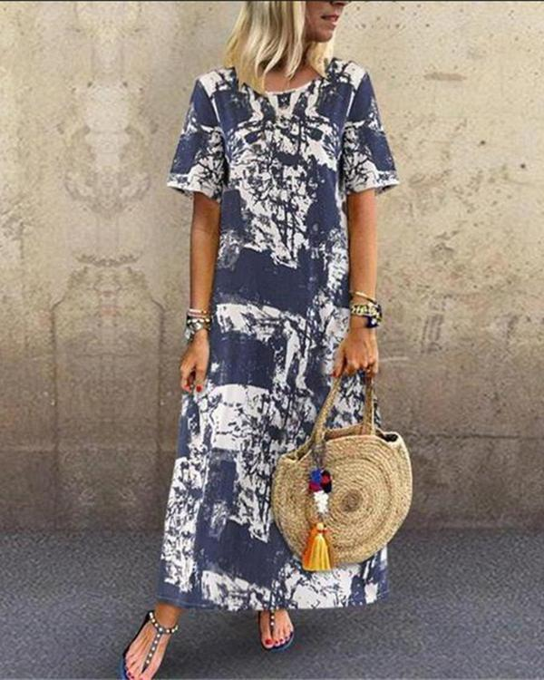 Holiday Abstract Short Sleeve Printed Maxi Dress