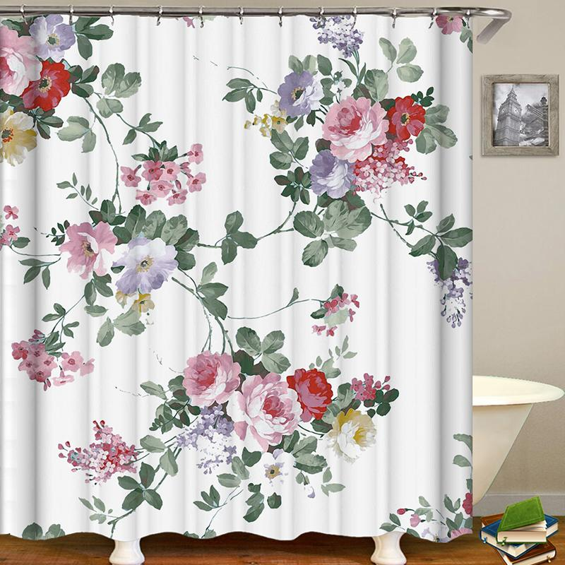 Creative Floral Printing Waterproof Bathroom Shower Curtain