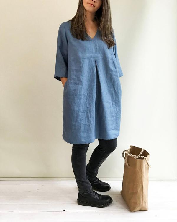 Plus Size Solid V-Neck Pleated Linen Dress
