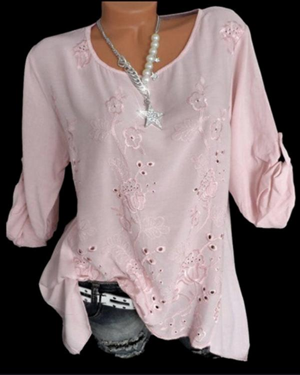 Embroidery Hollow O Neck Long Sleeve Blouses Tops