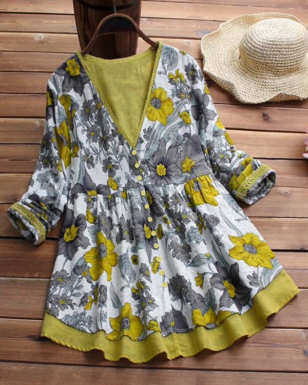 V-neck Floral Print Patchwork Long Sleeve Vintage Blouses Tops