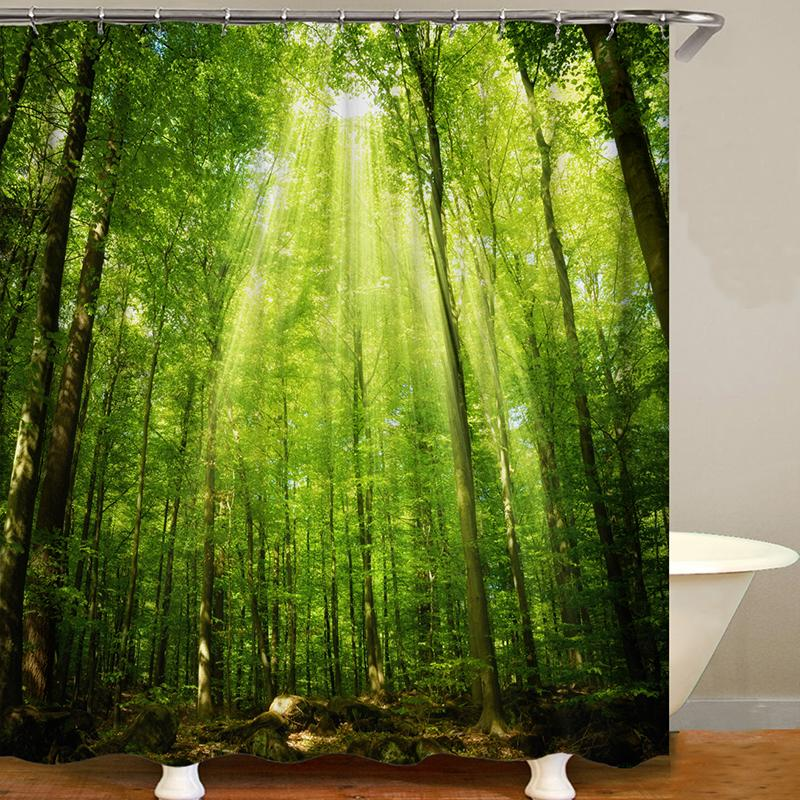 Green Woods Printing Bathroom  Waterproof Shower Curtain