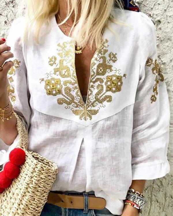 V neck Casual Tribal Printed Frill Sleeve Blouses Tops