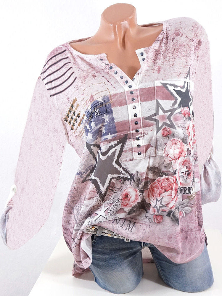 Women Stripe Stars Floral Print Long Sleeve Casual Blouse