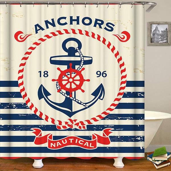 Abstract Naval Anchor Digital Printing Pattern Bathroom Curtain Mildew Waterproof Shower Curtain