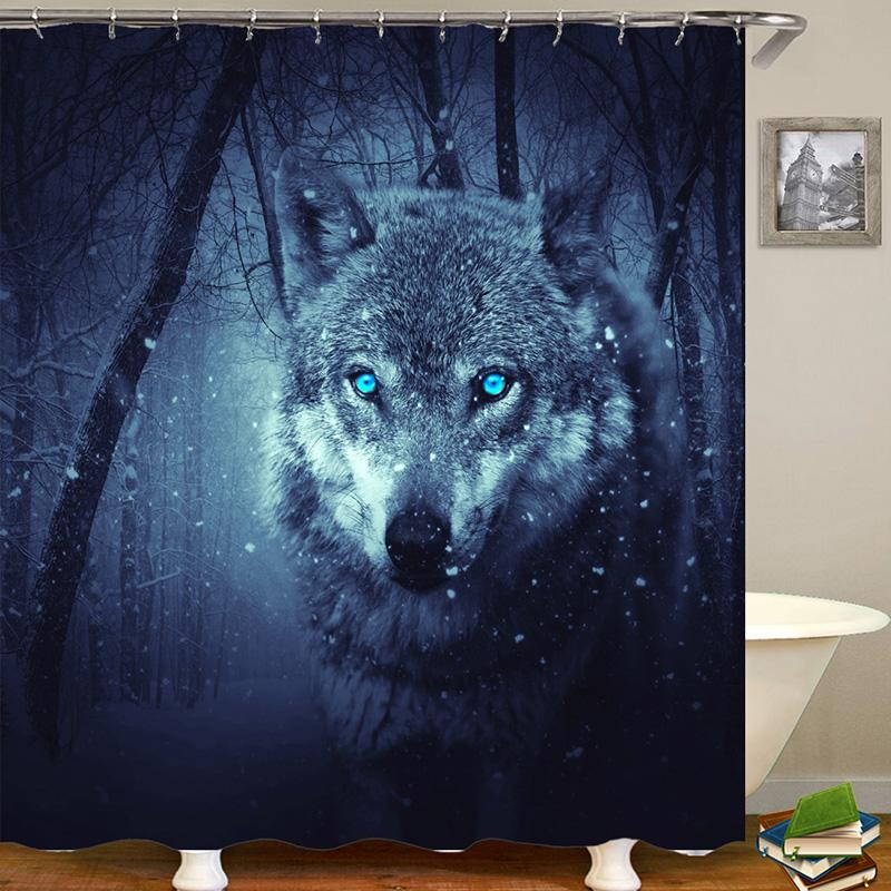 Wolf Animal Digital Printing Pattern Bathroom Curtain Mildew Waterproof Shower Curtain