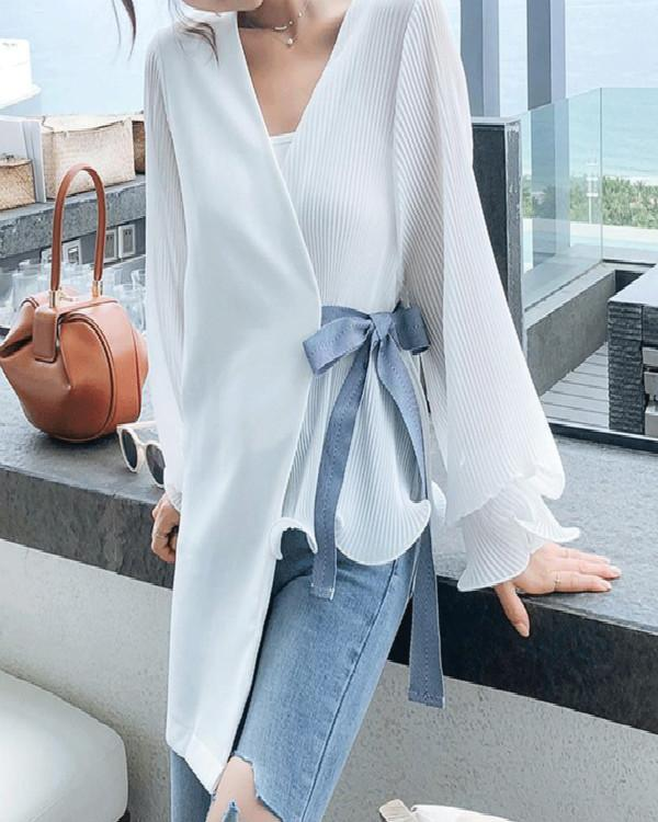 Fashion V Neck Loose Long Sleeve Blouse