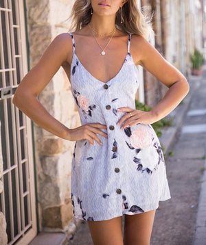 Women V Neck Open Back Strap Bow Sleeveless Printed Dress