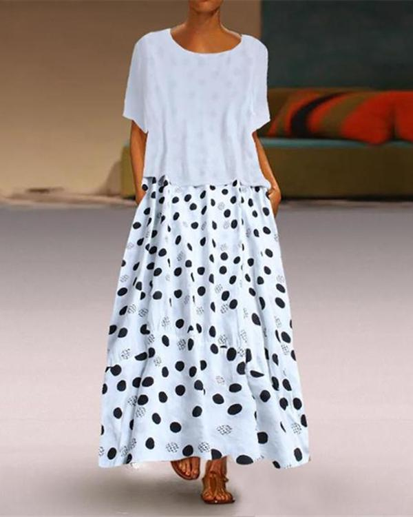 Casual Round Collar Polka Dot Print Maxi Dress