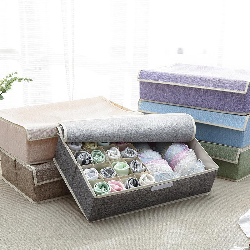 17 Cells Cotton Linen Underwear Storage Box Wardrobe Socks Storage Box