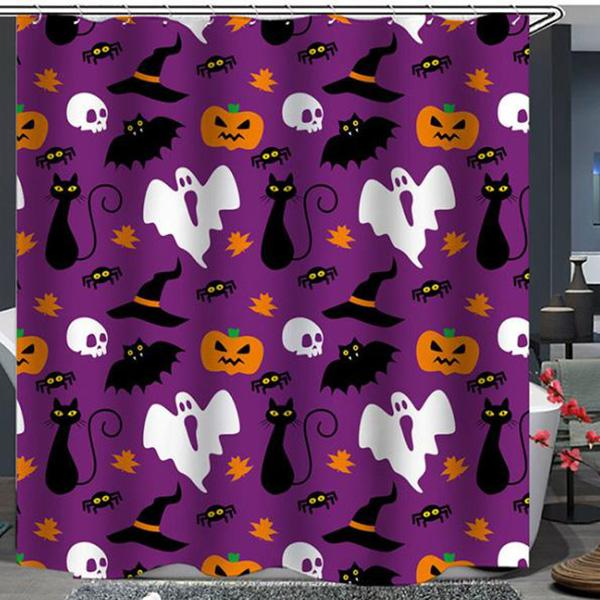 Christmas Bat Skull Series Pattern Bathroom Curtain Mildew Waterproof Shower Curtain