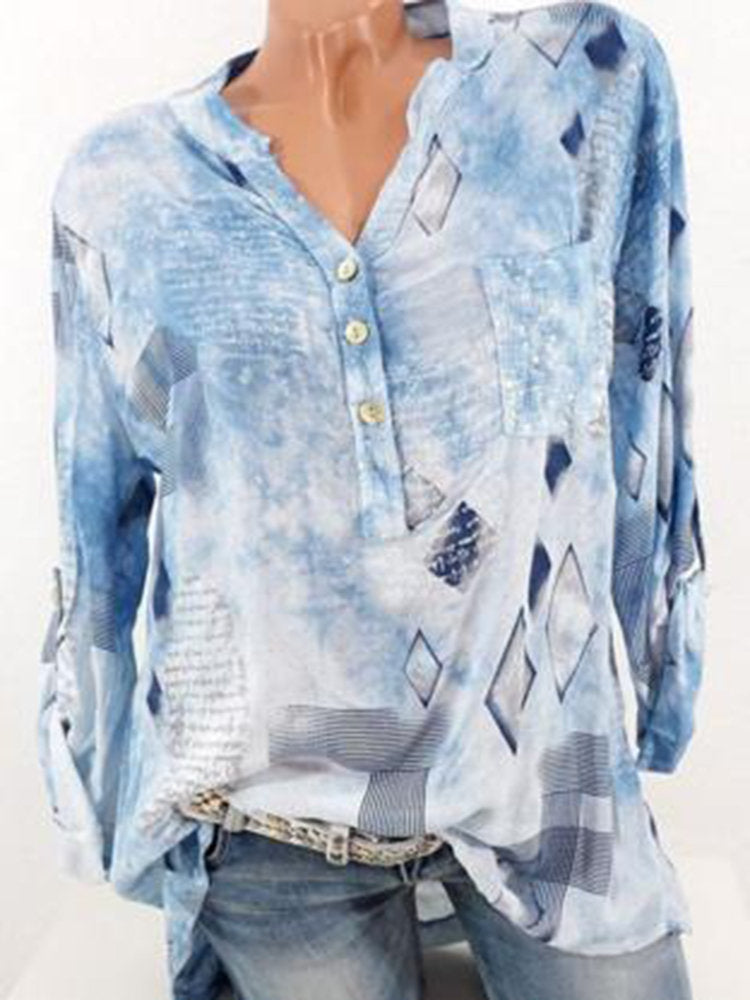 Casual Print Loose Long Sleeve V-neck Blouses For Women